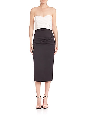 parker female eliana colorblock strapless dress