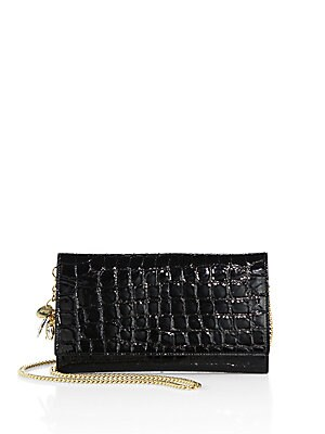 Croc-Embossed Leather Chain Wallet