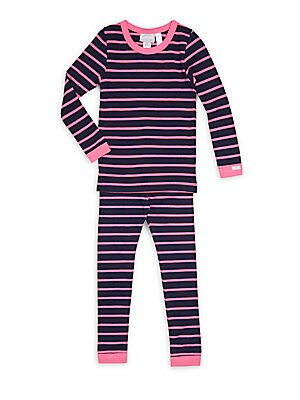 Little Girl's & Girl's Two-Piece Striped Cotton-Blend Tee & Pajamas Set