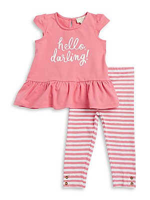 Baby's Hello Darling Top & Striped Leggings Set