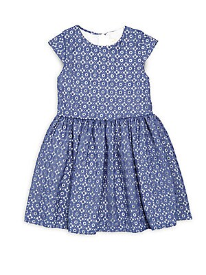 Little Girl's & Girl's Pleated Floral-Lace Dress
