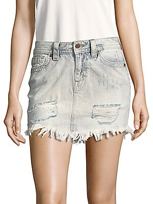Fringed-Hem Denim Skirt
