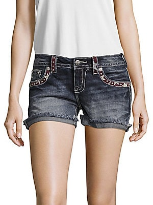 Americana Embroidered Denim Shorts