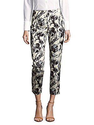 lafayette 148 new york female stanton abstractprint cropped pants