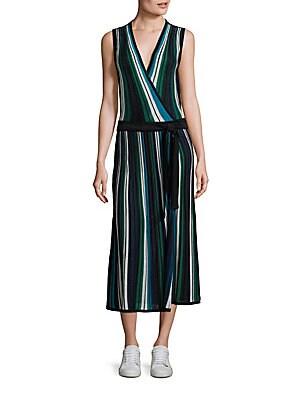 Cadenza Striped Wrap Dress