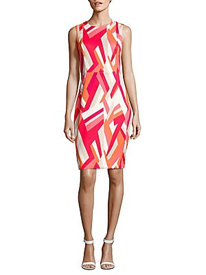 Sleeveless Geometric-Print Sheath Dress