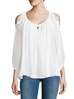 Lace Cold-Shoulder Silk Blouse