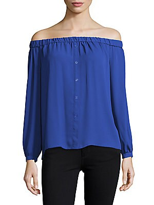 Button-Front Off-The-Shoulder Pullover