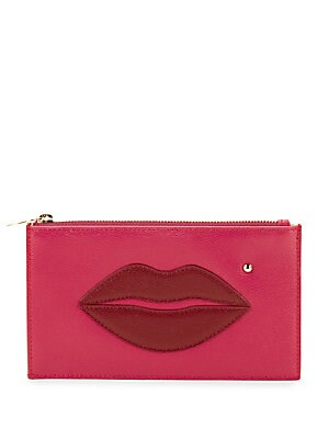 Pouty Textured Leather Lip-Accent Pouch