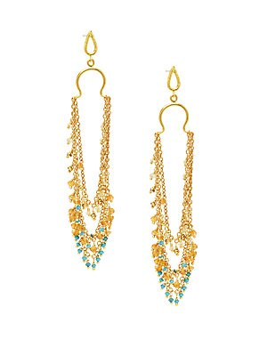 22K Goldplated Sterling Silver & Multi-Stone Drop Earrings