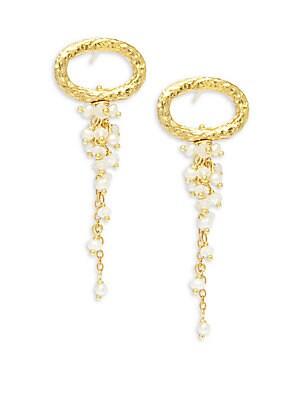 2.5MM White Potato Pearl, Moonstone & 22K Goldplated Sterling Silver Drop Earrings