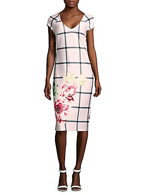 Windowpane Printed Sheath Dress