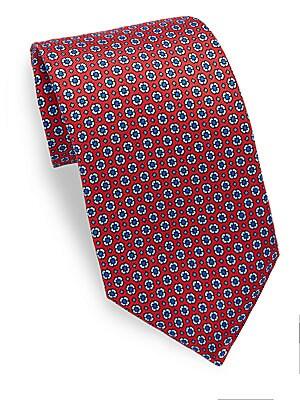 Geometric Patterned Silk Tie