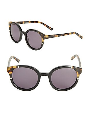 49MM Round Tortoiseshell Sunglasses