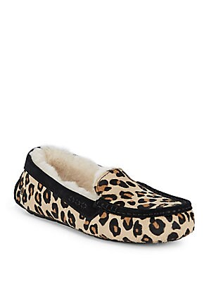 Ansly Leopard Calf Hair Slippers