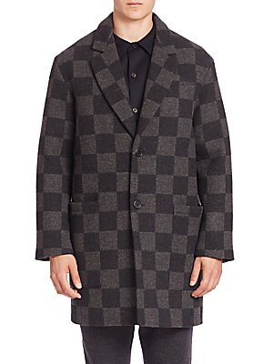 Long Checkerboard Wool Coat