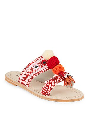 Koshi Pom-Pom Slide Sandals