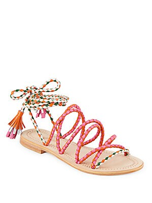 Dori Braided Ankle-Strap Leather Sandals