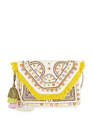 Fringed Trim Cotton Shoulder Bag