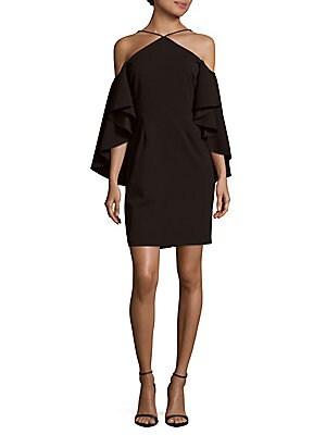 Solid Flutter-Sleeve Dress