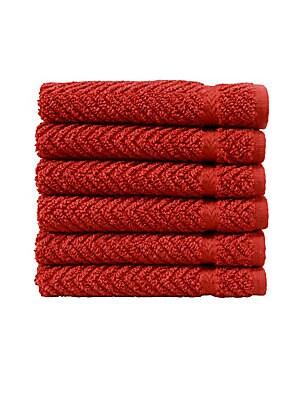 Herringbone Turkish Cotton Washcloths/Set of 6