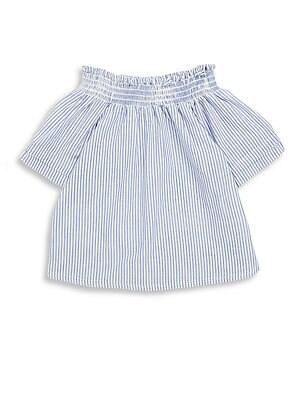 Girl's Cotton Denim Striped Top
