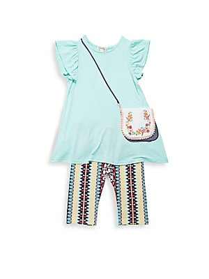 Little Girl's Two-Piece Flutter Sleeve Top & Bottom Set