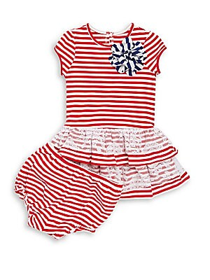 Baby's Stripe Dress and Bottoms Set