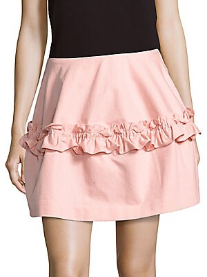 Cotton Ruffled Solid Skirt