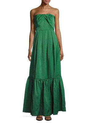 Straight Across Neckline Pleated Gown