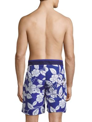 POLO RALPH LAUREN Floral-Print Swim Shorts in White Blue