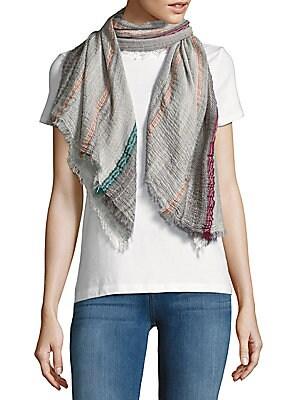Striped Cotton-Blend Scarf