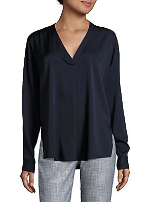 vince female solid vneck blouse