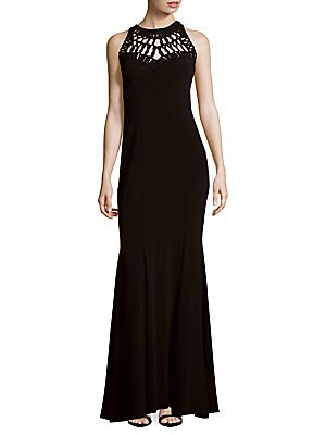 Soutache Pattern Sleeveless Gown