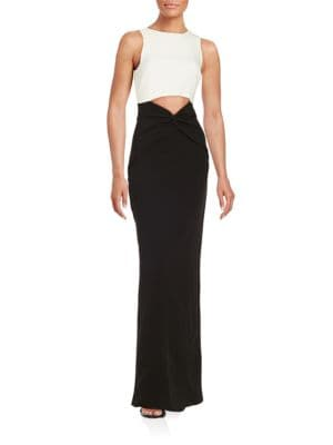 Contrast Cutout Gown Nicole Miller