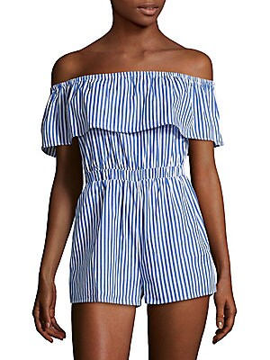 Poplin Ruffled Cotton Romper
