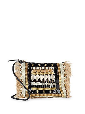 Beaded Leather Clutch
