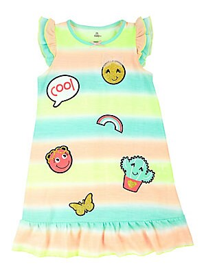 Little Girl's Emoji Stripe Roundneck Nightgown