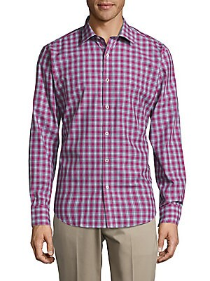 Woven Casual Checked Button Down Shaped-Fit Shirt