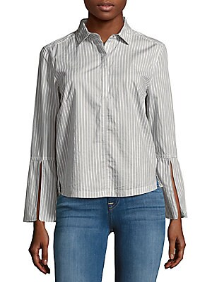 Striped Cotton Casual Button-Down Shirt