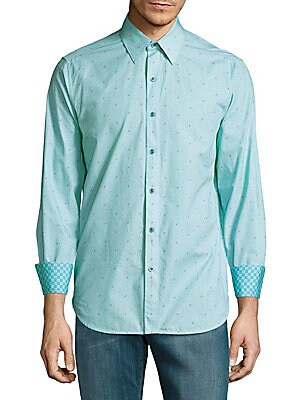 Tailored-Fit Printed Cotton Casual Shirt