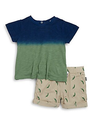 Baby's Dip Dyed Tee and Chili Pepper-Printed Shorts Set