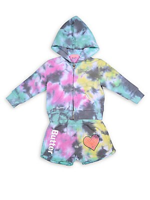 Baby's Two-Piece Emoji Tie Dyed Hoodie & Shorts Set