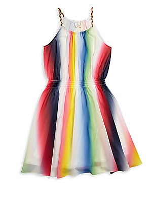 Girl's Amber Rainbow Striped Dress