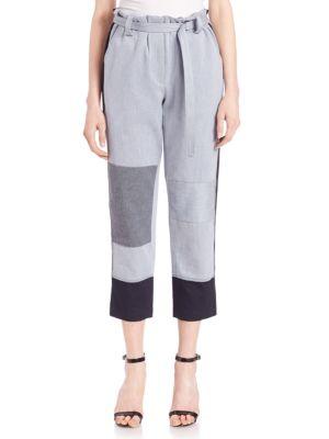 Denim Patchwork Cropped Pants