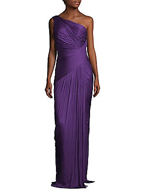 Ribbed One Shoulder Silk Gown
