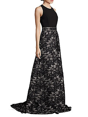 Beaded Floral Jacquard Gown