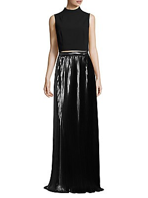 Two-Piece Ponte Cropped Top & Pleated Metallic Skirt