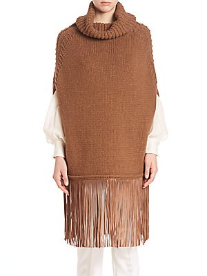 Turtleneck Knit Poncho with Fringed Hem