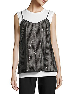 Sequined Chevron-Stripe Camisole